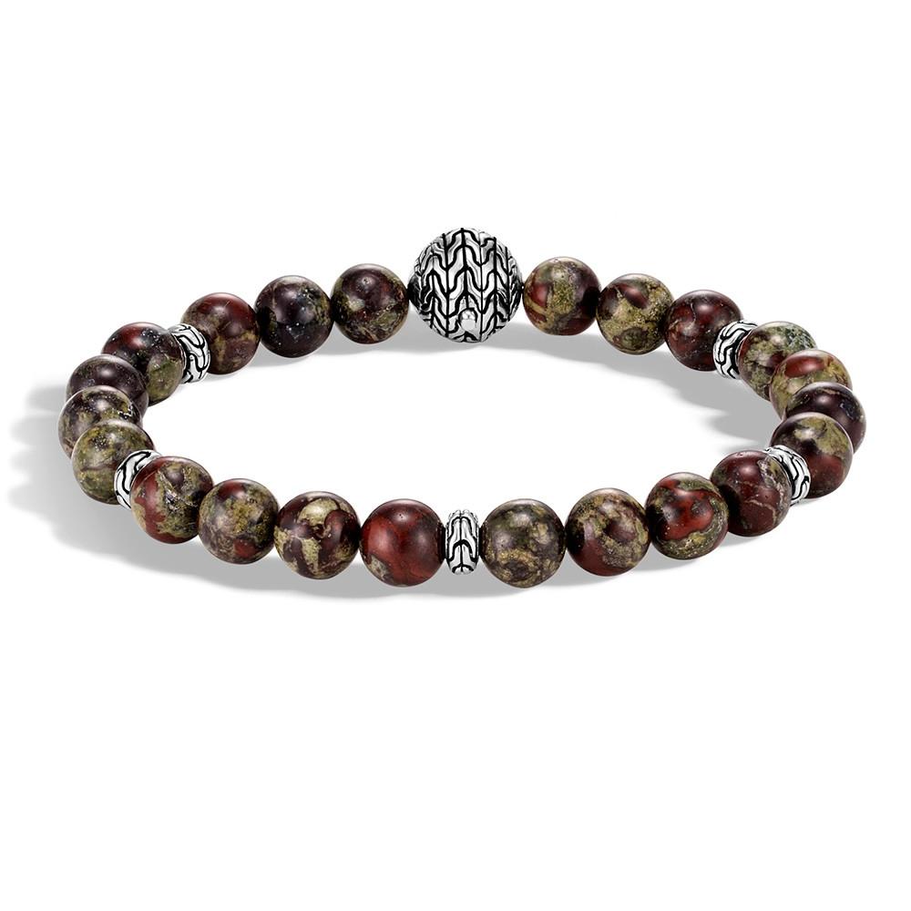 John Hardy Dragon Blood Jasper Classic Chain Bead Bracelet