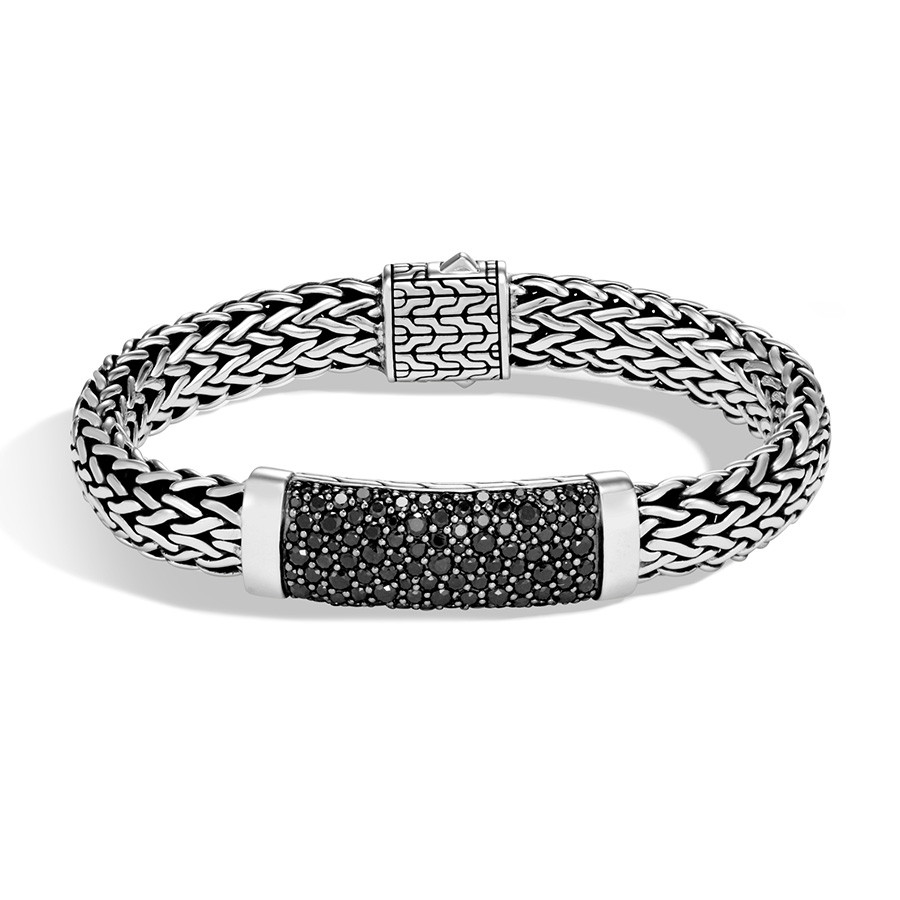 John Hardy Classic Chain Large Wide Silver Black Sapphire Station Bracelet