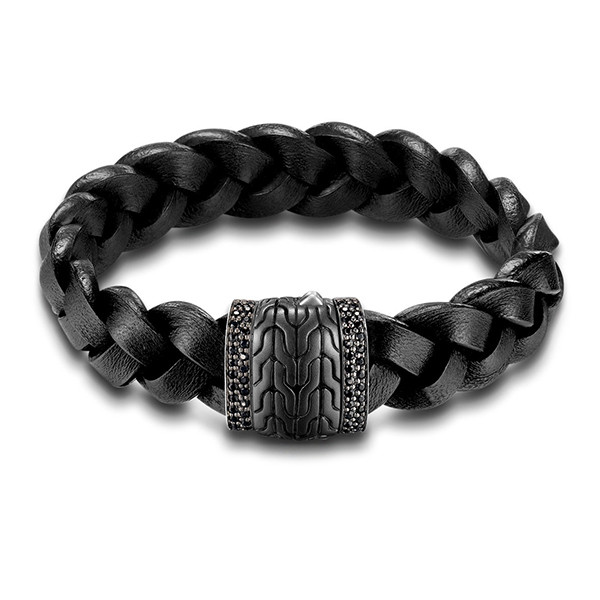 John Hardy Classic Chain Black Leather & Silver Braided Station Bracelet