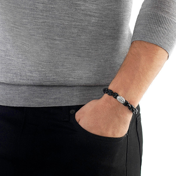 John Hardy Classic Chain Black Agate Bracelet on Model