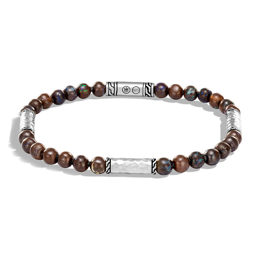 John Hardy Classic Chain Small Boulder Opal & Hammered Silver Beaded Bracelet