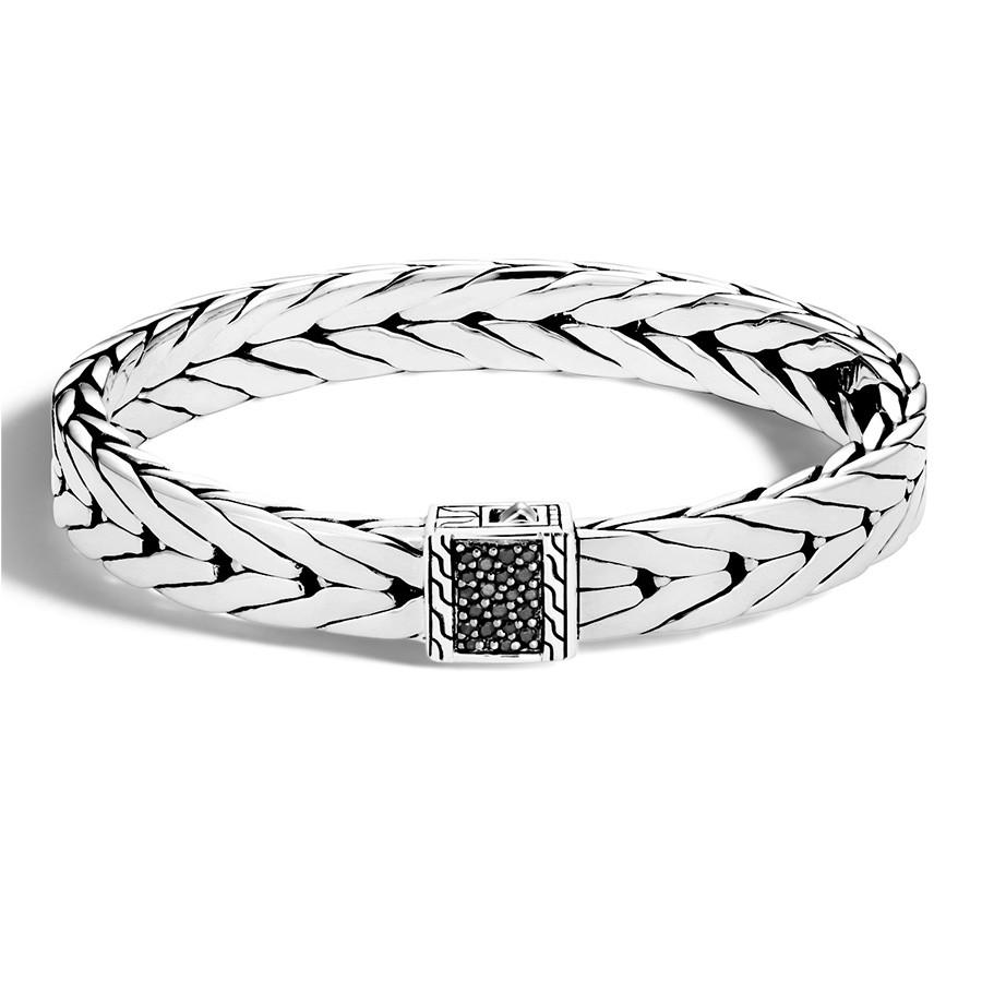 John Hardy Medium Modern Chain Slim Silver Black Sapphire Bracelet
