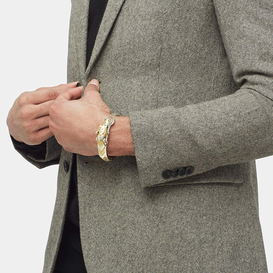 John Hardy Legends Naga Small Brushed Gold & Silver Dragon Bracelet on Model