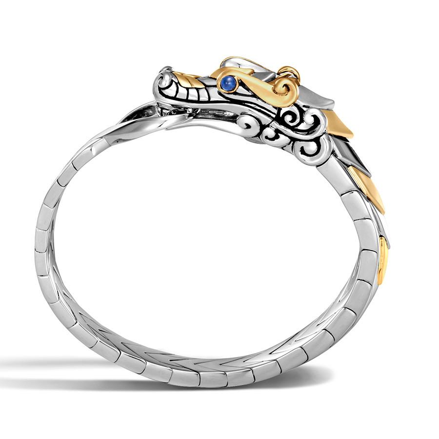 John Hardy Legends Naga Brushed Gold & Silver Dragon Bracelet Side View
