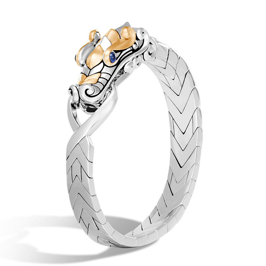 John Hardy Legends Naga Small Brushed Gold & Silver Dragon Bracelet Angle View