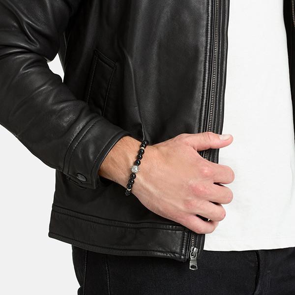 John Hardy Gold & Silver Black Onyx Bead Classic Chain Bracelet on Model