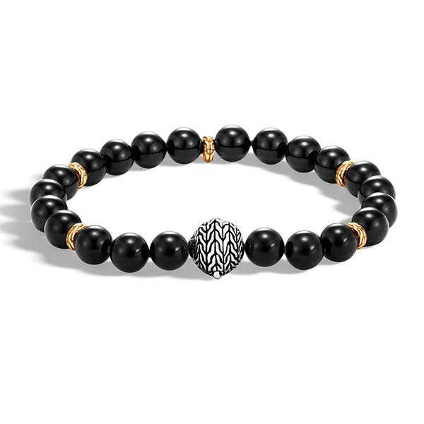 John Hardy Gold & Silver Black Onyx Bead Classic Chain Bracelet
