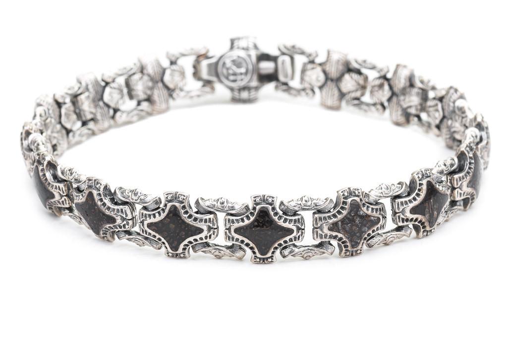 William Henry Red Fossil Silver Link Bracelet