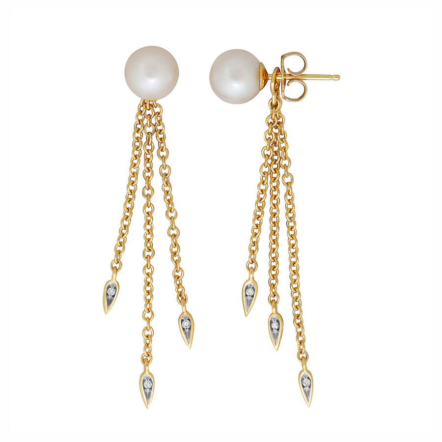Honora Diamond Drop Yellow Gold Pearl Teardrop Tassel Earrings