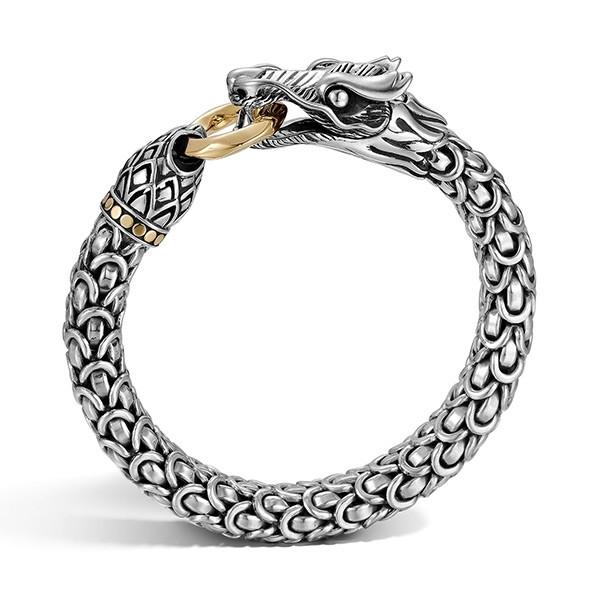 John Hardy 10mm Legends Naga Gold & Silver Dragon Bracelet Profile View