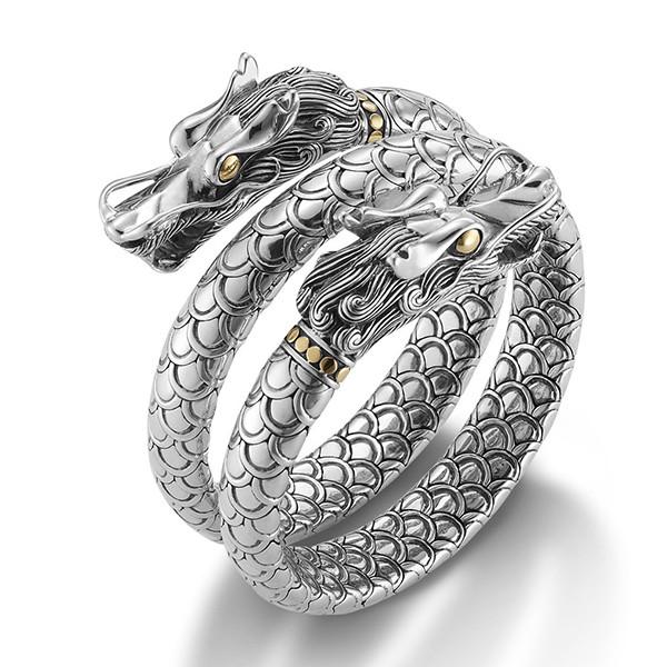 John Hardy Naga Dragon Head Double Coil Gold & Silver Bracelet Angle View