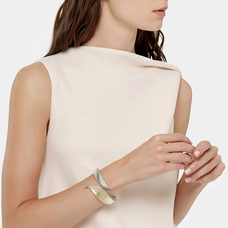 John Hardy Hammered Gold & Silver Wave Hinged Classic Chain Bangle on Model
