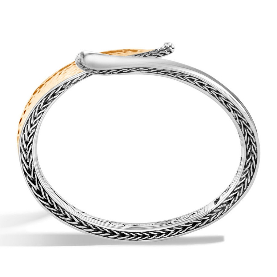 John Hardy Hammered Gold & Silver Wave Hinged Classic Chain Bangle Profile View