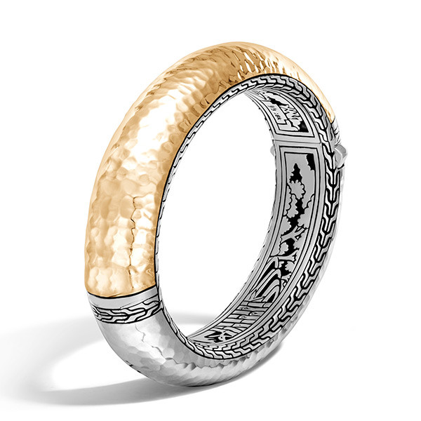 John Hardy Classic Chain Wide Gold & Silver Hammered Bangle