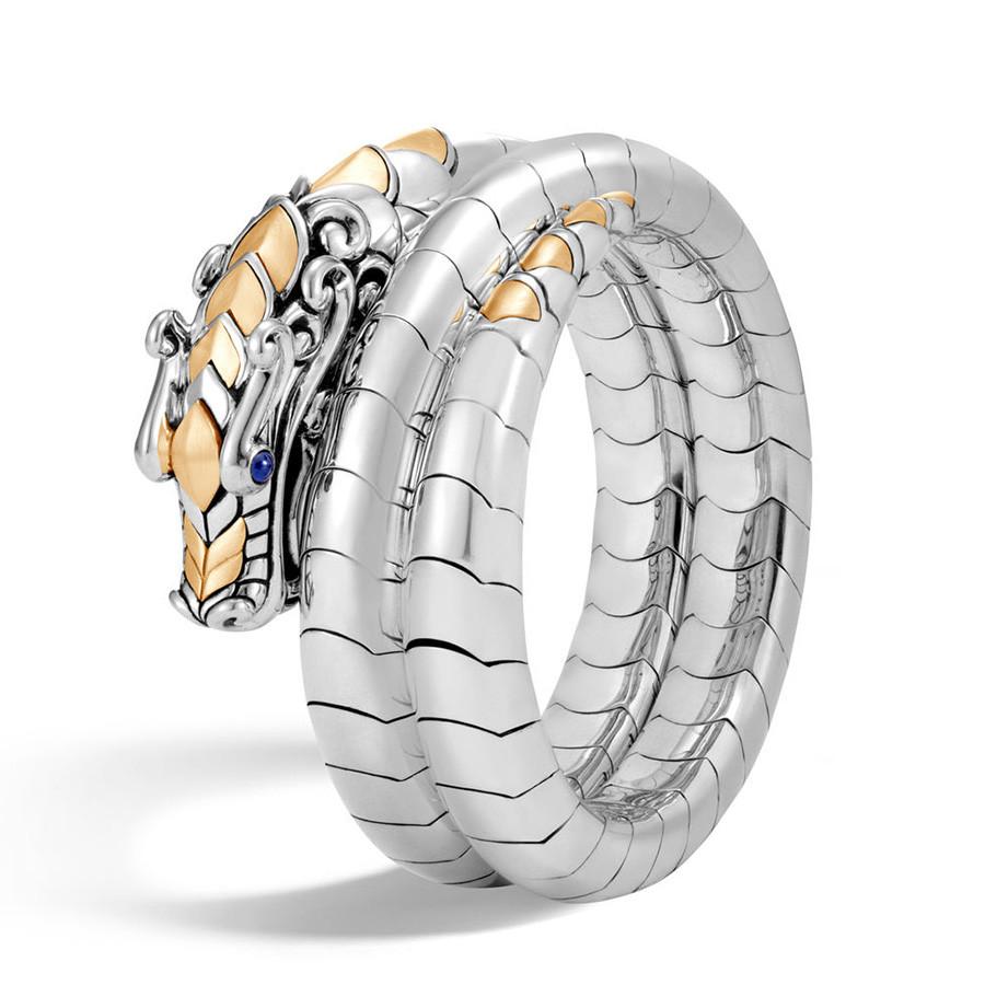 John Hardy Legends Naga Gold & Silver Double Coil Dragon Bracelet
