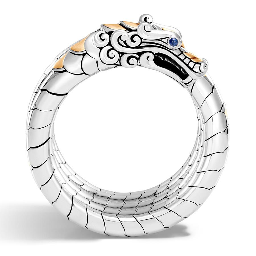 John Hardy Legends Naga Medium to Large Gold & Silver Multi Coil Dragon Bracelet Profile View