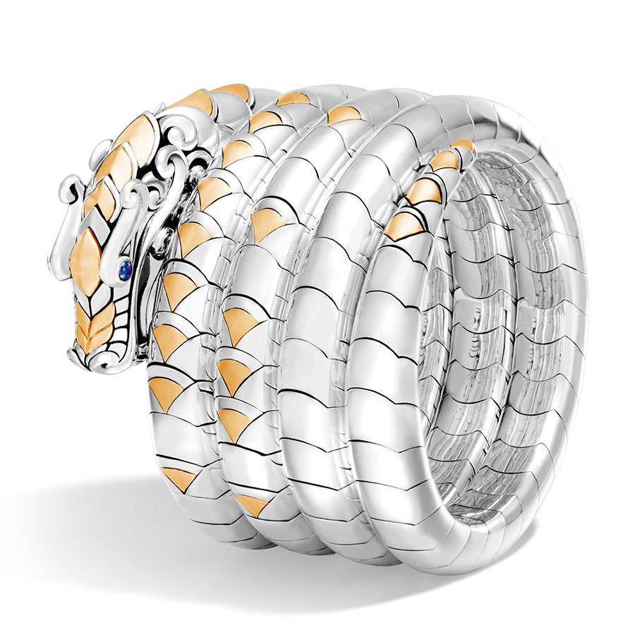 John Hardy Legends Naga Medium to Large Gold & Silver Multi Coil Dragon Bracelet Angle View