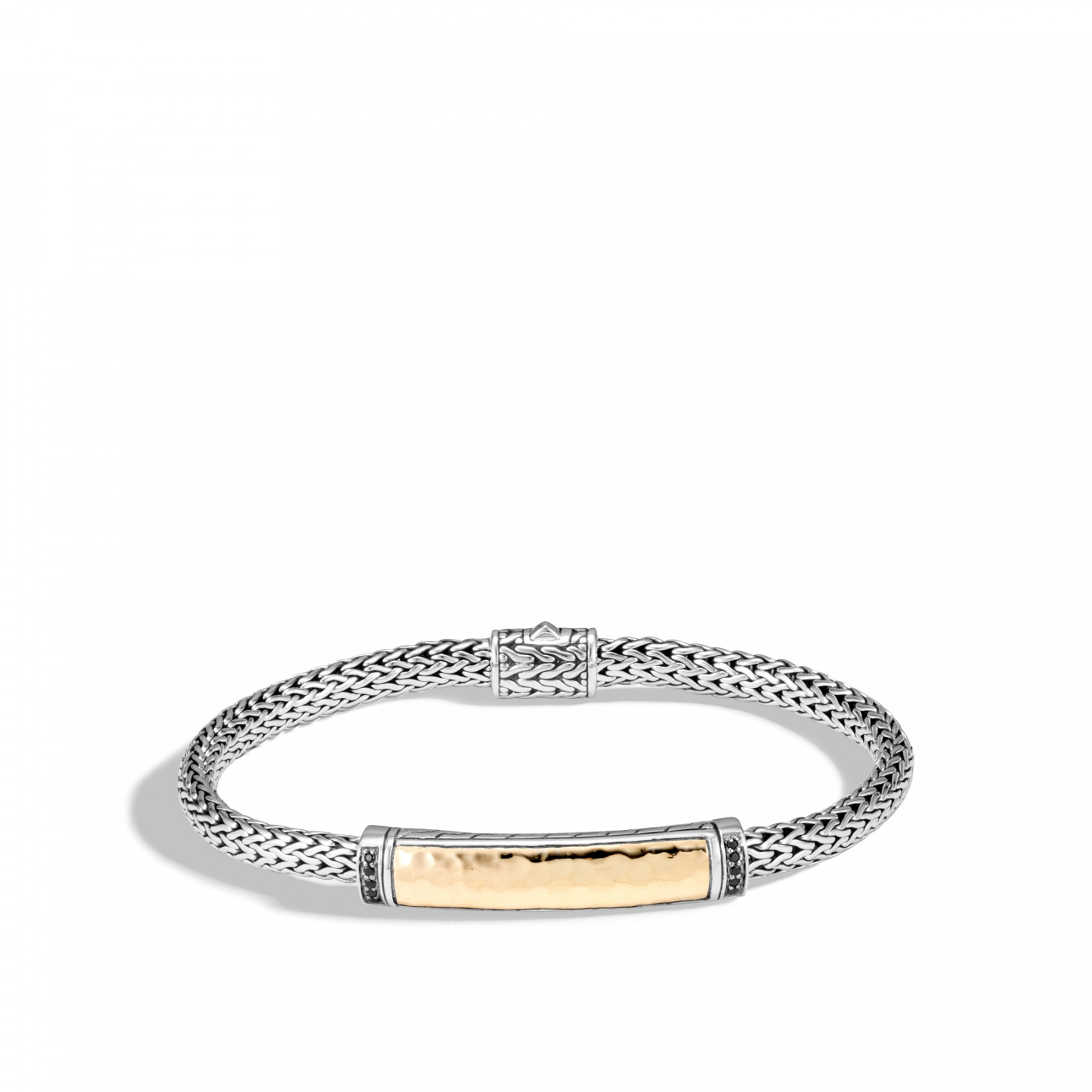 John Hardy Small Classic Chain Two-Tone Station Bracelet with Black Sapphire