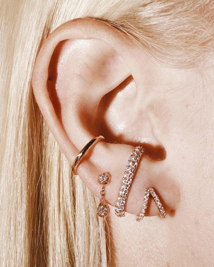 Rose Gold Diamond Split Huggie Earrings by Carbon & Hyde on Model