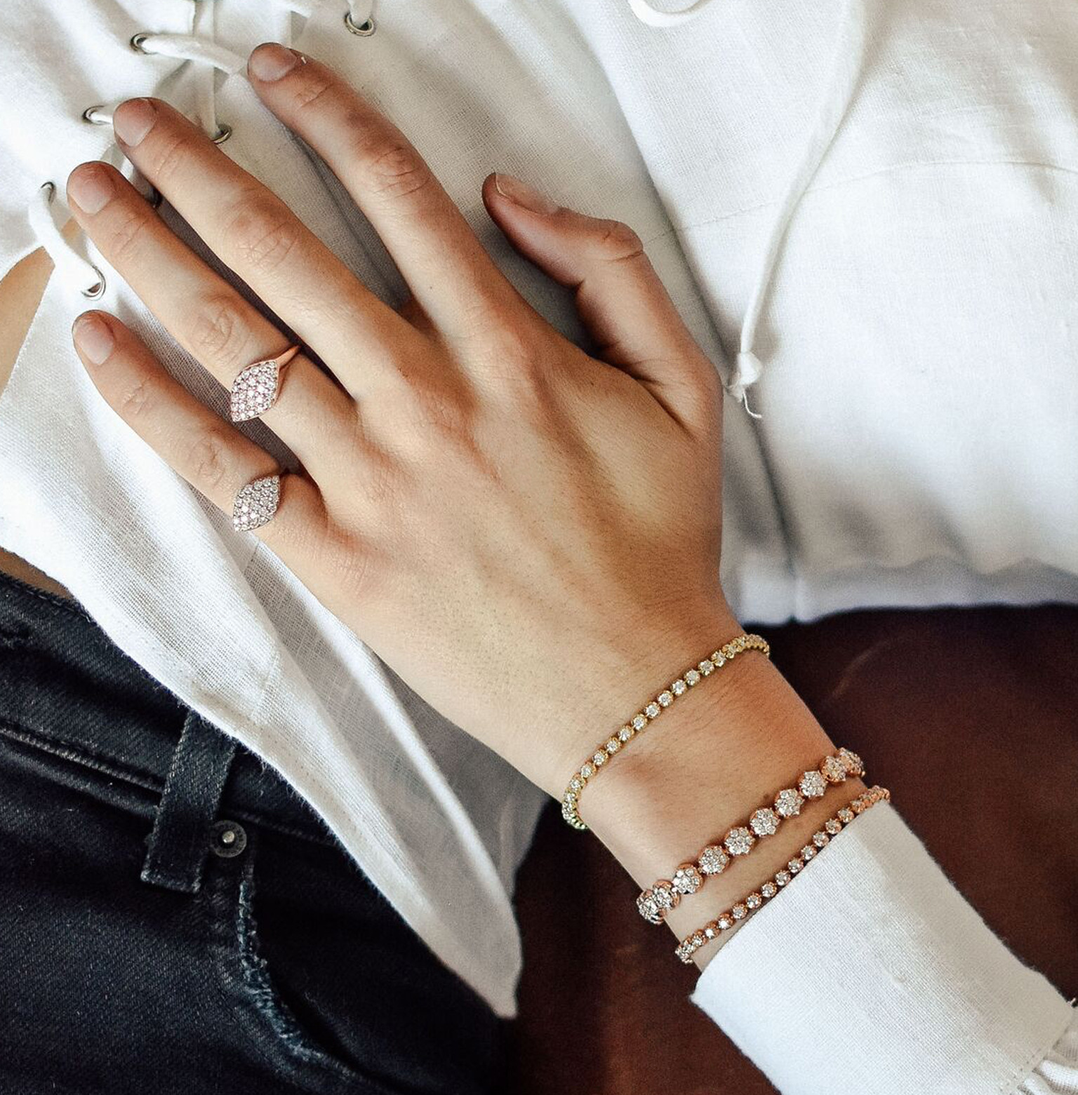 Carbon & Hyde Gemma Diamond Pinky Ring in 14K Gold on model