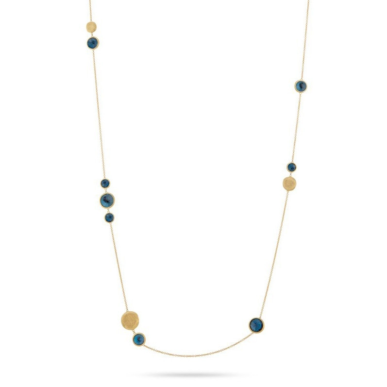 "Marco Bicego London Blue Topaz 36"" Yellow Gold Jaipur Necklace"