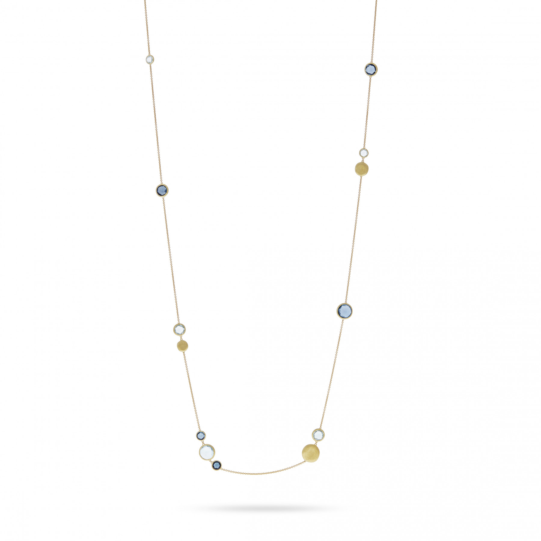 """Marco Bicego Yellow Gold Jaipur Mixed Blue Topaz 36"""" Necklace"""
