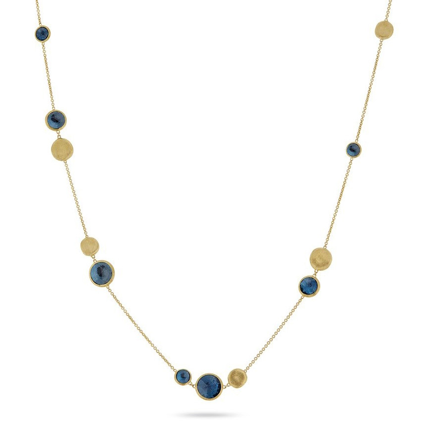 Marco Bicego Yellow Gold London Blue Topaz Station Jaipur Necklace