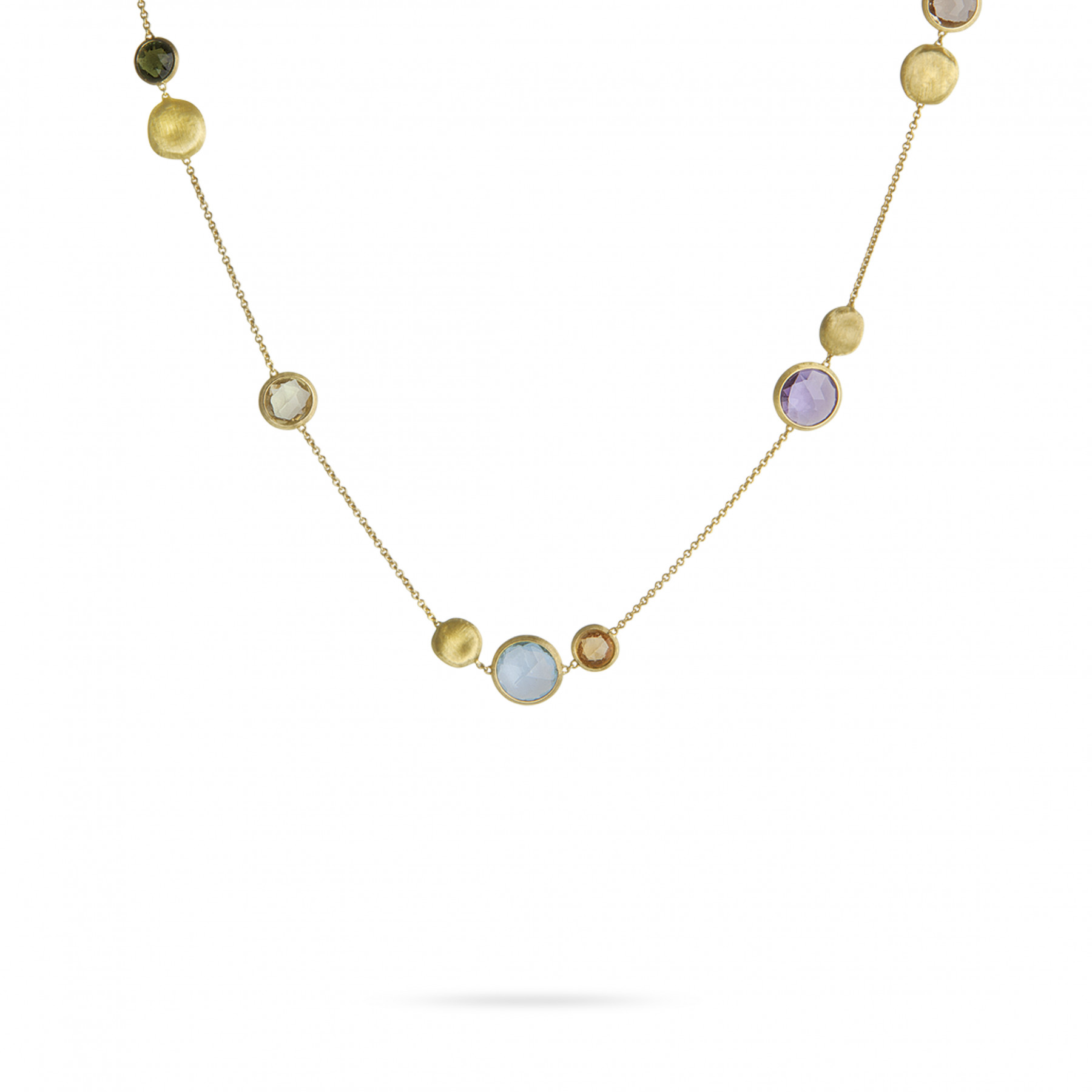 """Marco Bicego Jaipur 18kt Yellow Gold Necklace with Mixed Gemstones 16"""""""