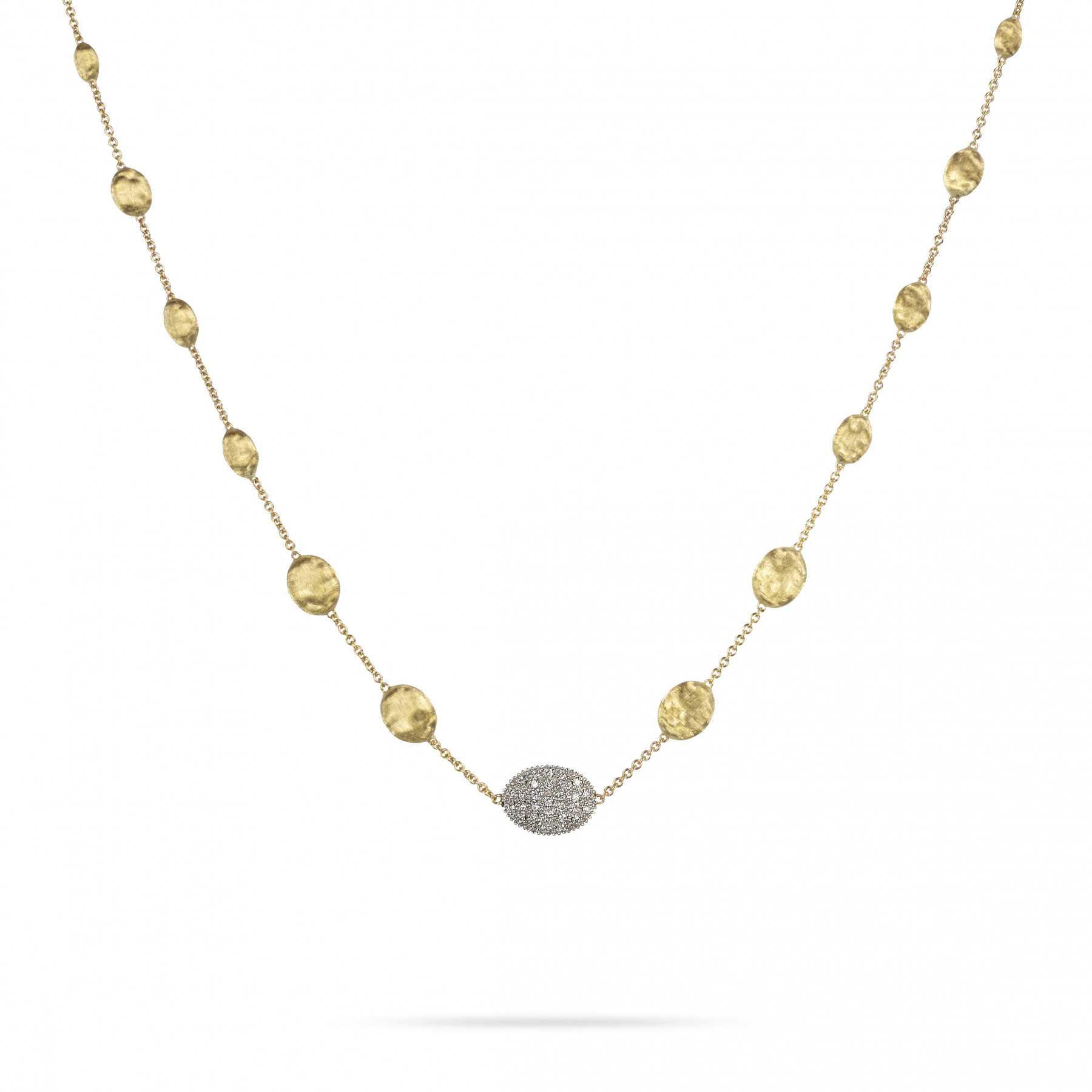 Marco Bicego Siviglia Yellow Gold with 1 Pave Station Link Necklace 18""