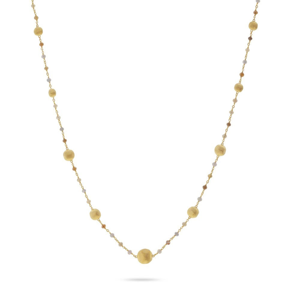 Marco Bicego Africa Stellar Mixed Diamond Yellow Gold Station Necklace