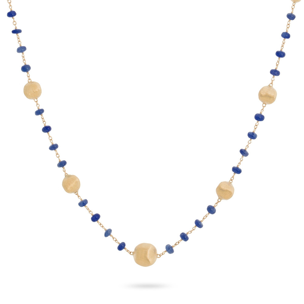 Marco Bicego Yellow Gold Africa Color Blue Sapphire Station Necklace