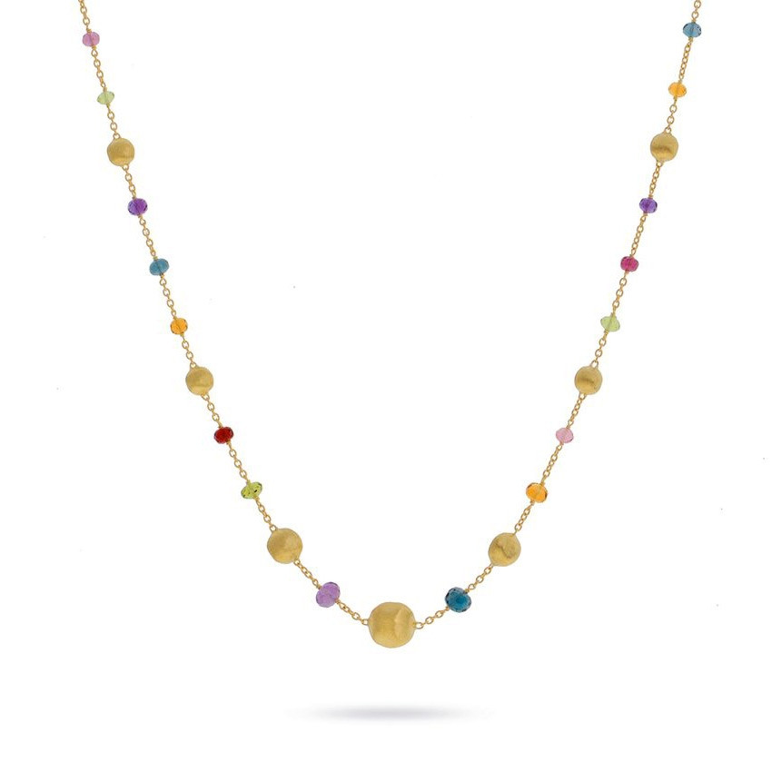 Marco Bicego Yellow Gold Africa Color Mixed Gemstone Station Necklace