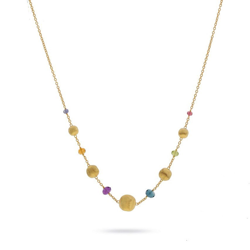 Marco Bicego Yellow Gold & Mixed Gemstone Africa Color Station Necklace