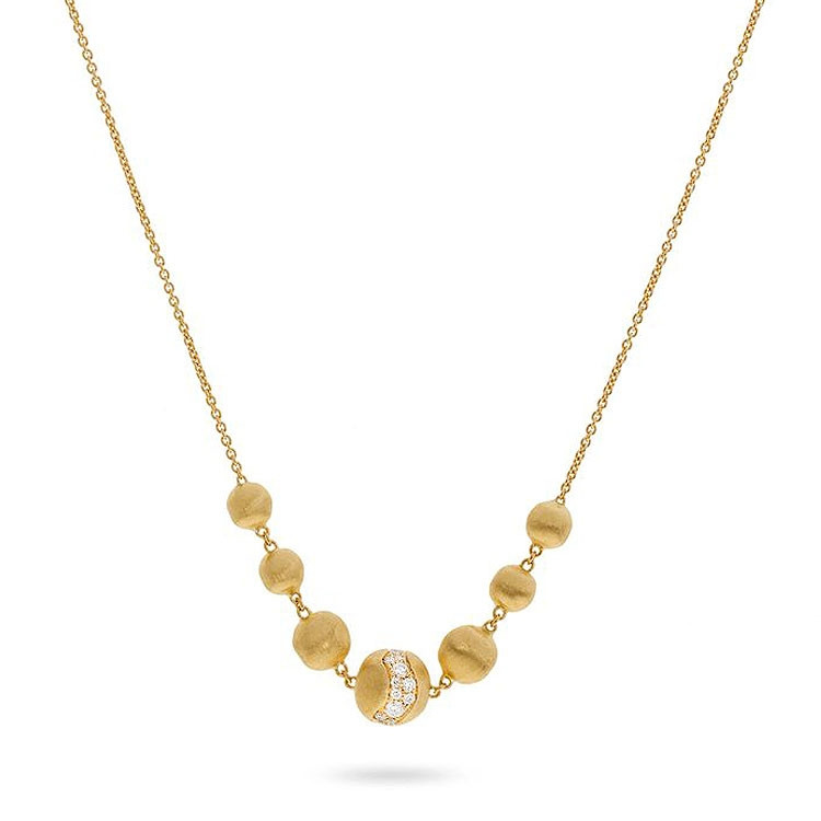 Marco Bicego Africa Constellation Diamond Yellow Gold Station Necklace