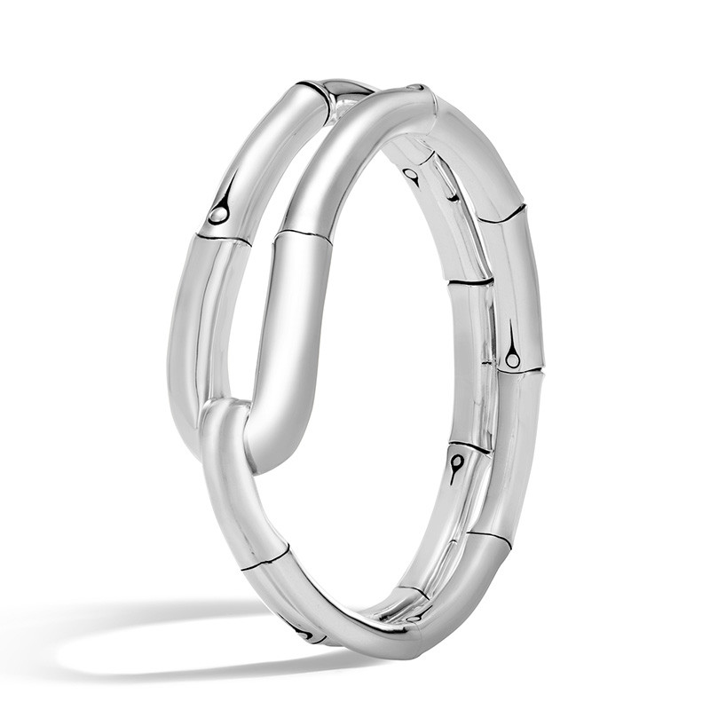 John Hardy Medium Silver Loop Flex Bamboo Cuff Angle View