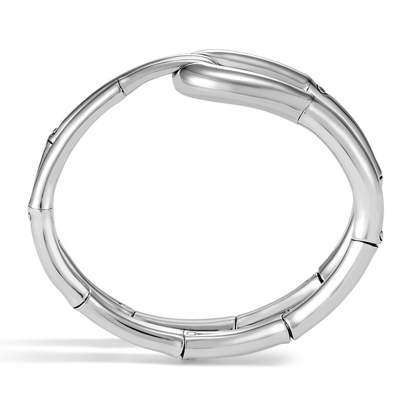 John Hardy Small Silver Loop Flex Bamboo Cuff Side View
