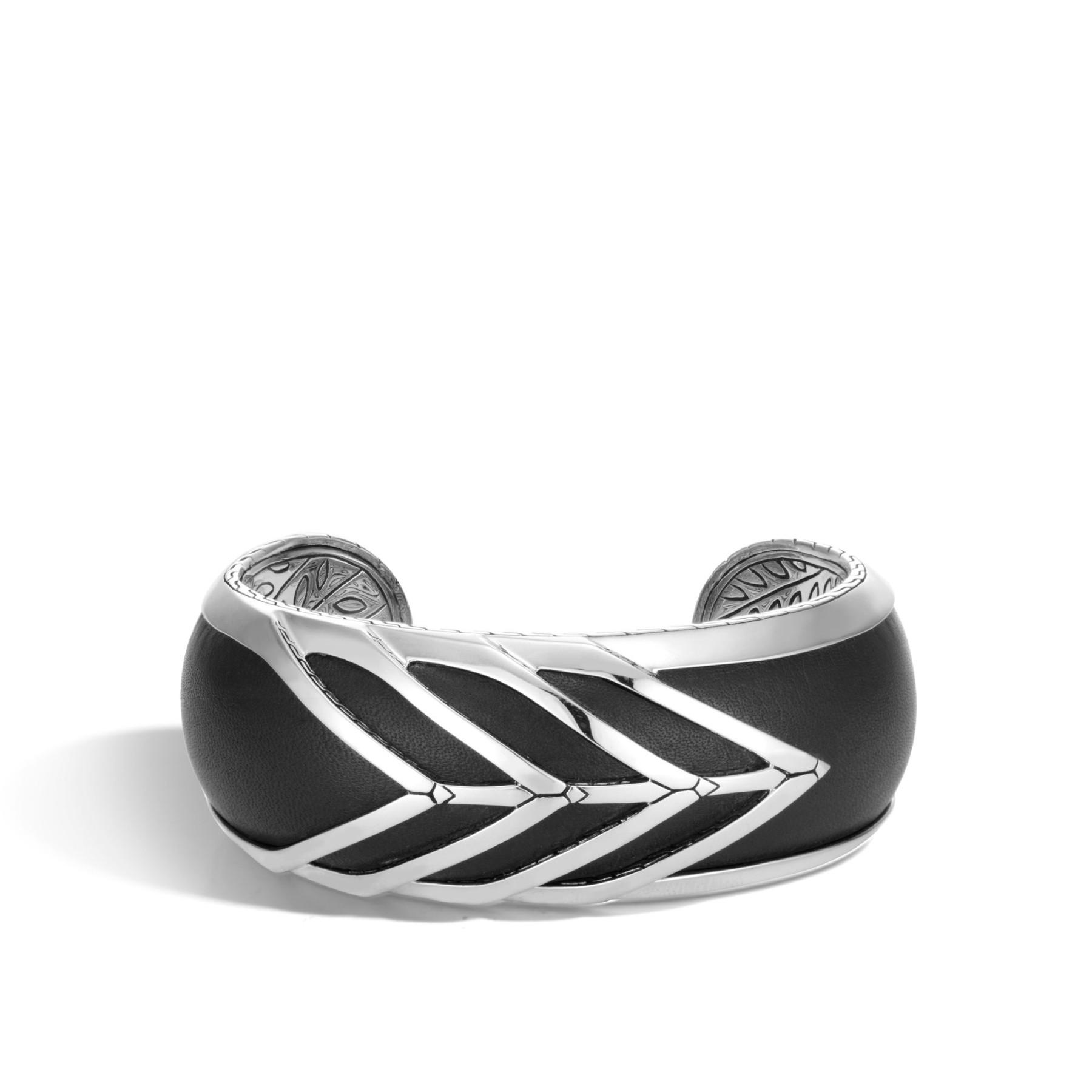 John Hardy Modern Chain Black Leather Wide Cuff Bracelet