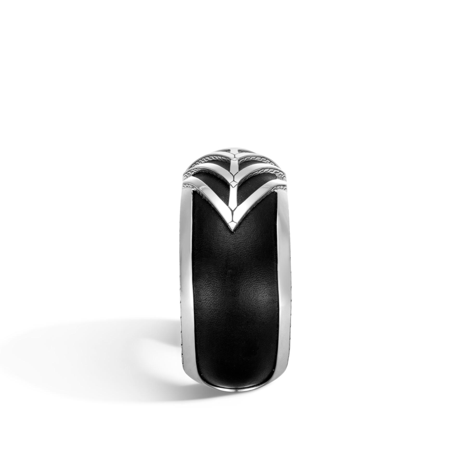 John Hardy Modern Chain Black Leather Wide Cuff Bracelet edge