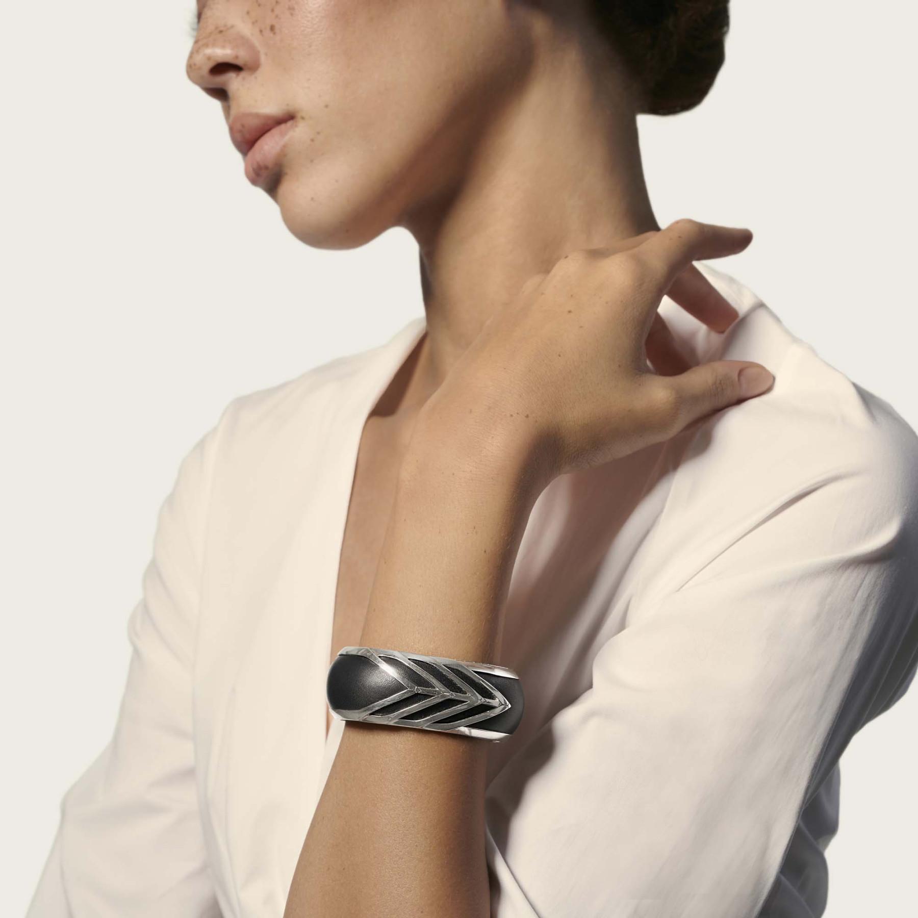 John Hardy Modern Chain Black Leather Wide Cuff Bracelet on model