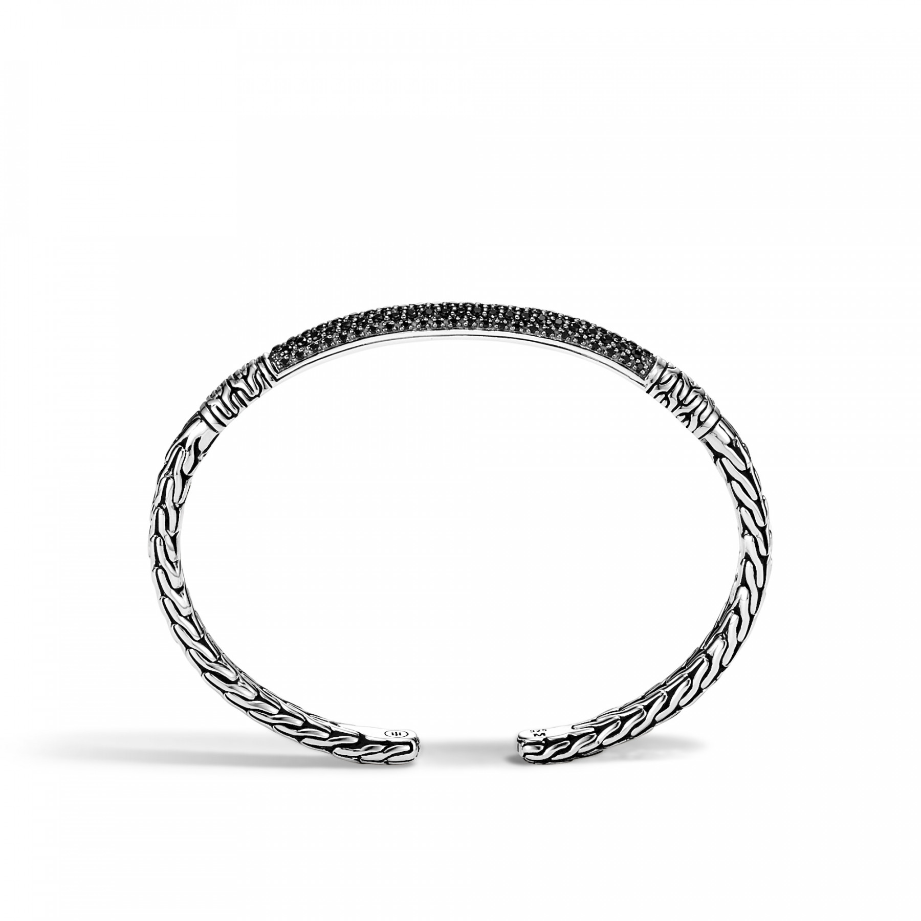 John Hardy Small Classic Chain Black Spinel Cuff side view