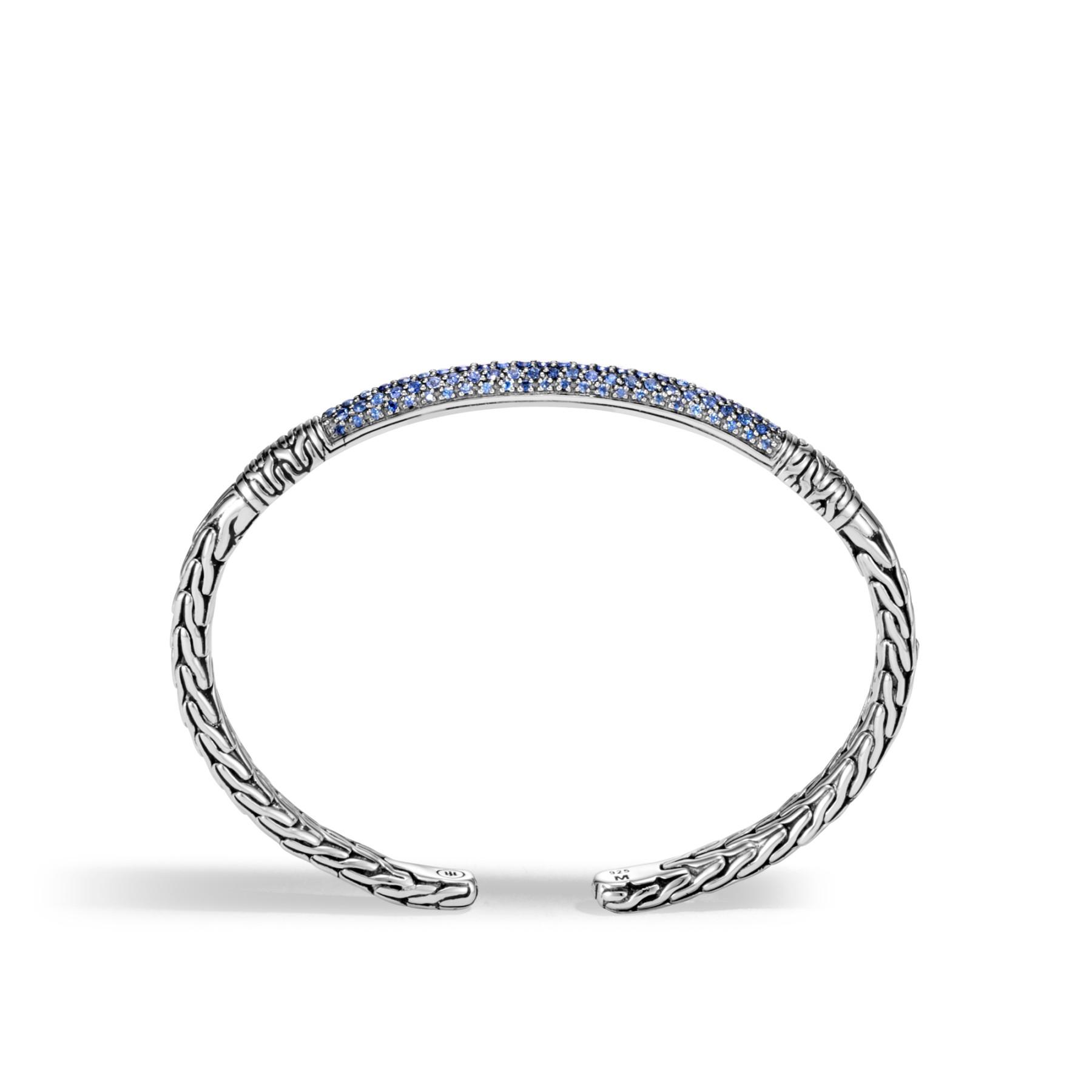 John Hardy Medium Classic Chain Blue Sapphire Cuff side view