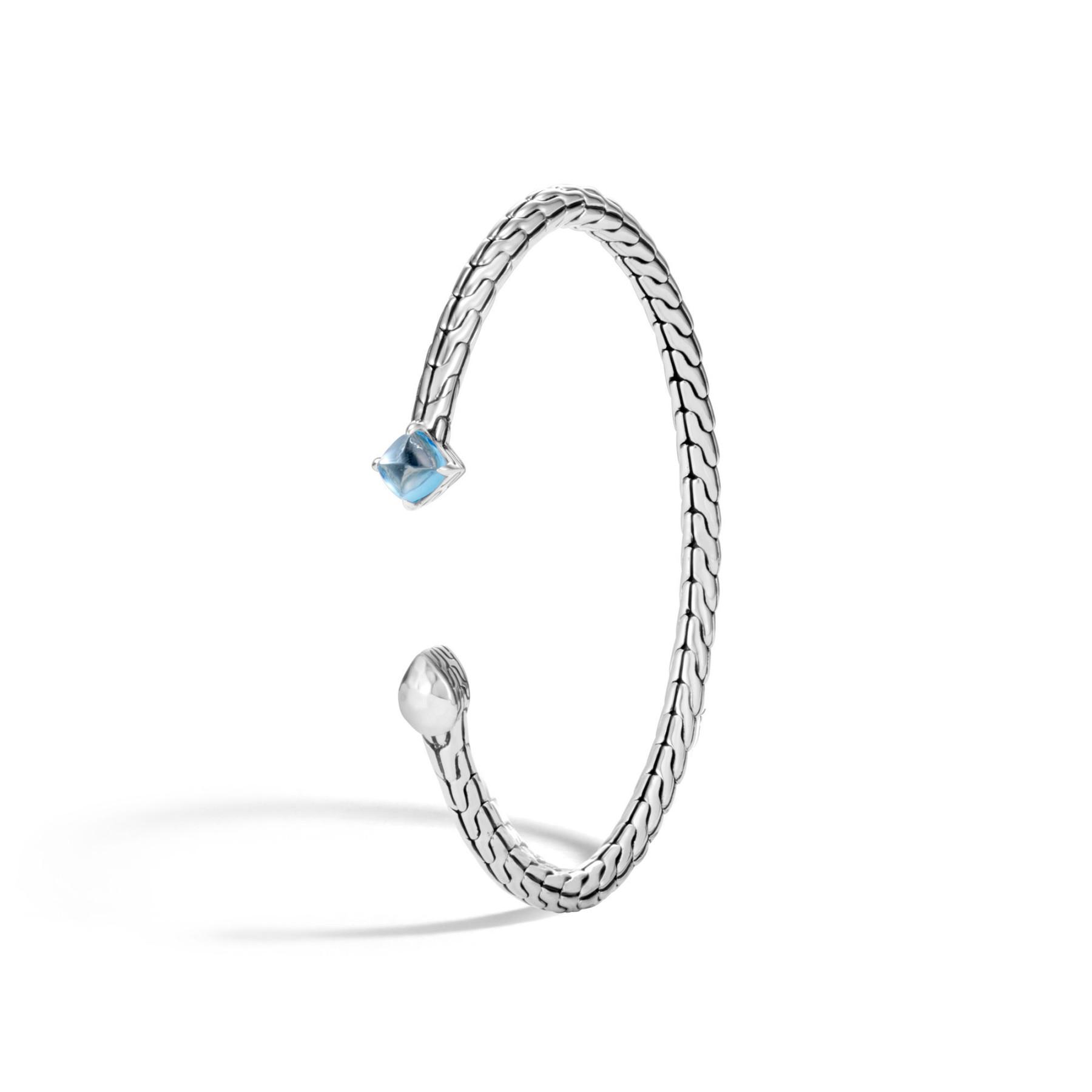 John Hardy Classic Chain Blue Topaz Cuff Bracelet angle view