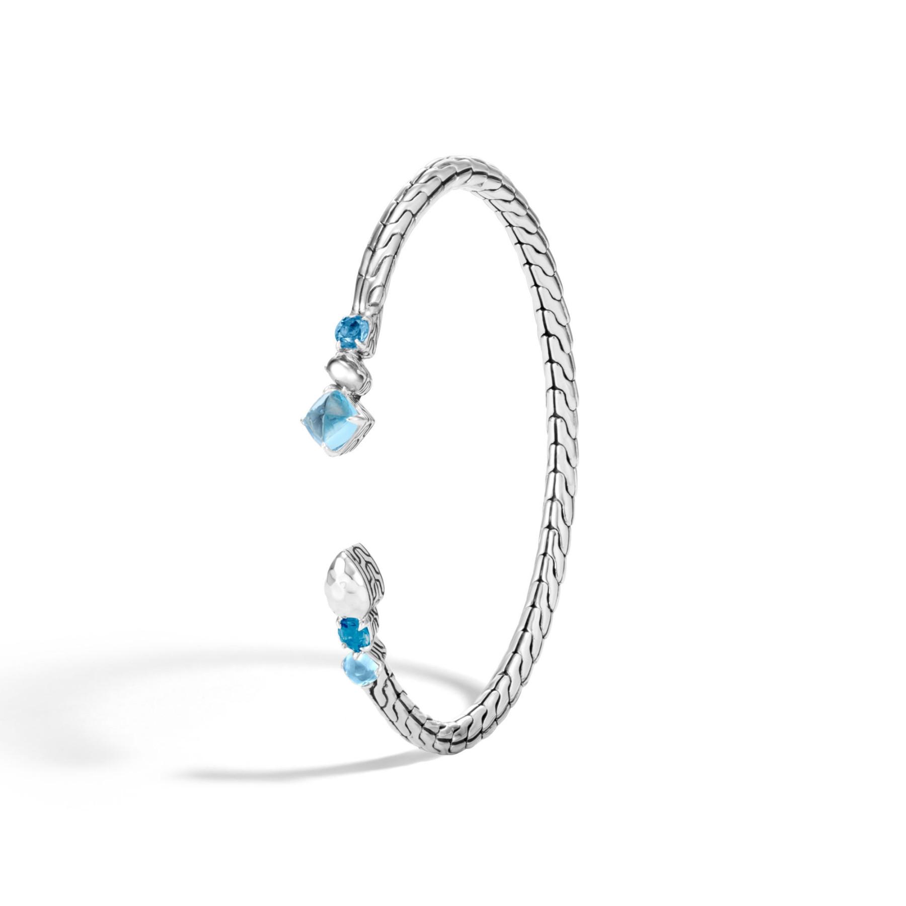 John Hardy Classic Chain London Blue Topaz Cuff Bracelet angle view