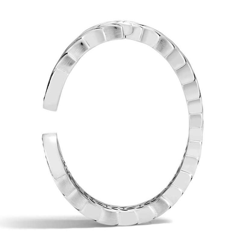John Hardy Black Sapphire Slim Brushed Modern Chain Silver Kick Cuff Side View