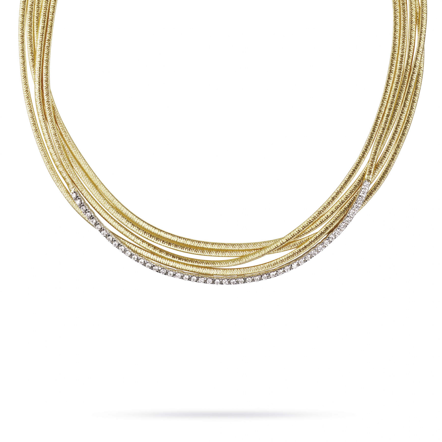 Marco Bicego IL Cairo Yellow Gold 5 Strand and Diamond Pave Necklace