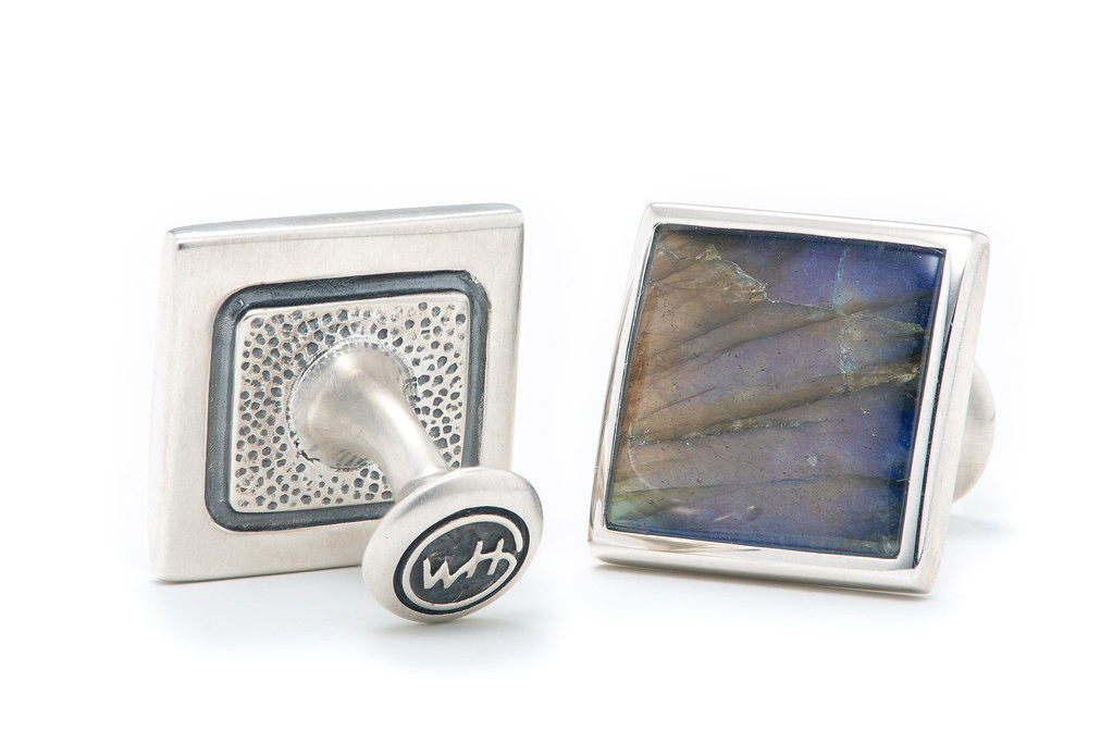 William Henry Labradorite and Silver Square Cufflinks