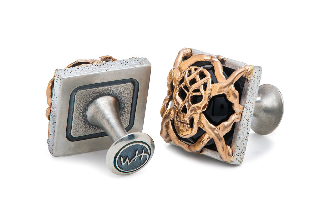William Henry Outlaws Embrace Silver & Rose Gold Black Onyx Skull Cufflinks