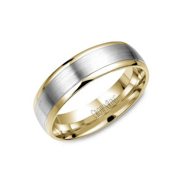 Crown Ring Two Tone 6mm Brushed Mens Wedding Band