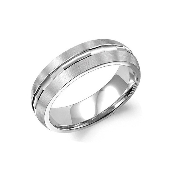 Crown Ring White Gold Brushed Carved Center 6mm Band