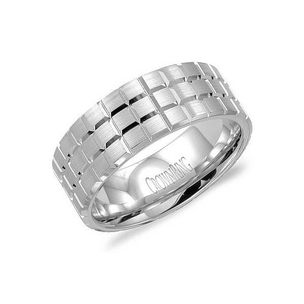 Crown Ring Platinum 8mm Carved Brushed Band